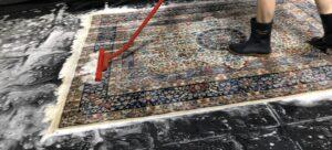 Oriental rug being washed